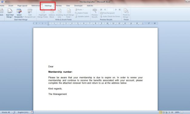 Setting up a Mail Merge Document in Microsoft Word