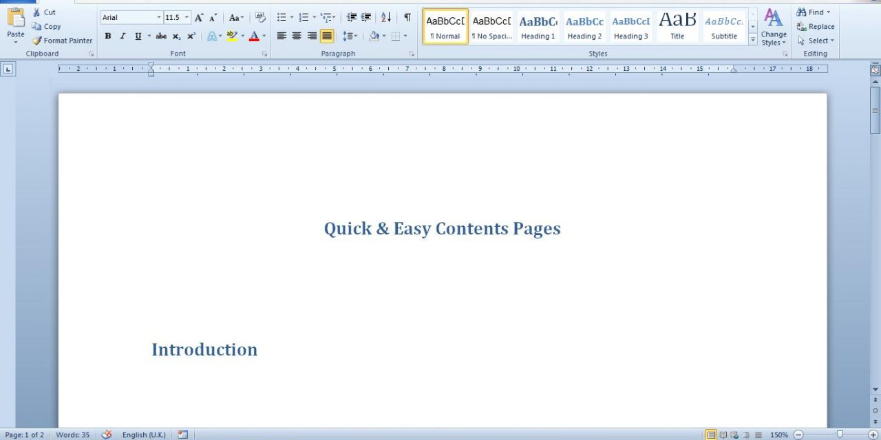 Contents Tables – the easy way!