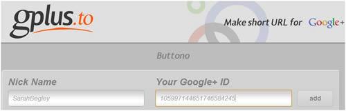 G+ personalised URL
